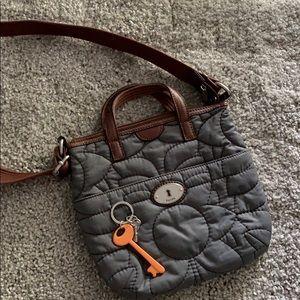 Fossil gray nylon crossbody bag GREAT condition
